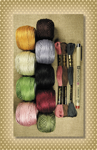 A Great Power Thread Kit-Valdani, Valdani perle cotton, Valdani floss, DMC, wool applique, wool applique pattern, nutmeg hare