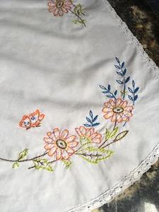Vintage Embroidered Floral Dresser Scarf