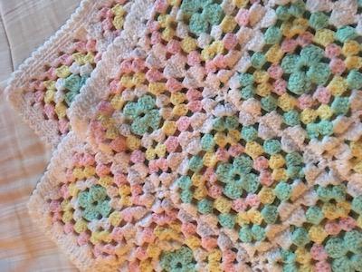 Vintage  Granny Square Hand Crochet Blanket
