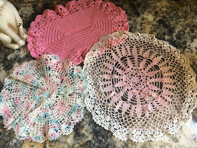 Vintage Hand Crocheted Lace Doiles Set of 3