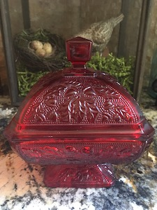 VIntage Ruby Red Jeanette Glass Pedestal Candy Dish