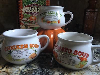 Vintage Soup Recipe Mugs Set of 3